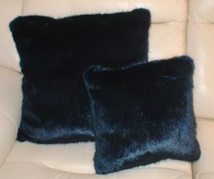Midnight Navy Blue Faux Fur Cushions