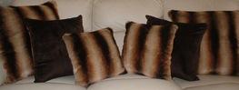 Golden Brown Chinchilla Faux Fur Cushions