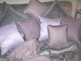 Silver Lavender Fox Faux Fur Cushions