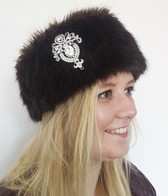 Faux Fur Headbands with Diamante Brooch