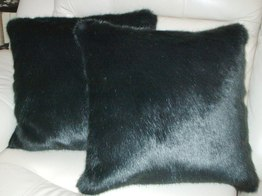 Charcoal Mink Faux Fur Cushions
