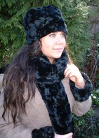 Black Astra Faux Fur Hats, Scarves, Collars, Accessories