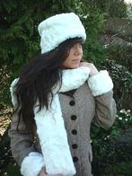 Ivory Astra Faux Fur Hat, Scarf, Cuffs