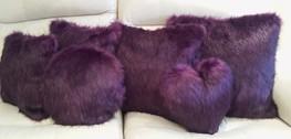 Royal Purple Faux Fur Cushions