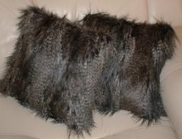 Grey Wolf Faux Fur Cushions