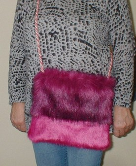 Magenta and Hot Pink Faux Fur Shoulder Bag