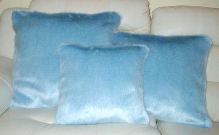 Powder Blue Faux Fur Cushion 41 x 41cm 16 x 16 inch