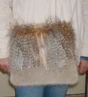 Desert Coyote and Honey Blonde Faux Fur Shoulder Bag