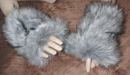 Silver Musquash Faux Fur Fingerless Mittens