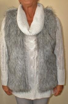 Silver Musquash Faux Fur Gilet