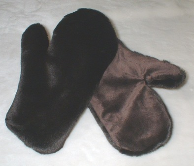 Chocolate Moleskin Faux Fur Mittens