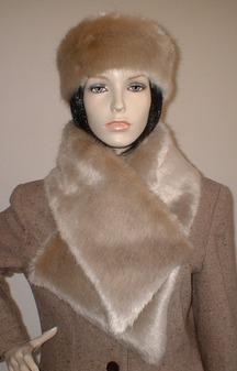 Honey Blonde Faux Fur Vintage Asymmetric Scarf