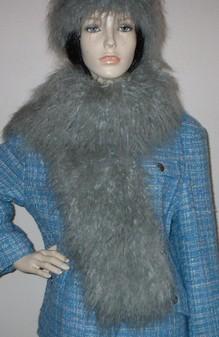 Mongolian Grey Faux Fur Scarf