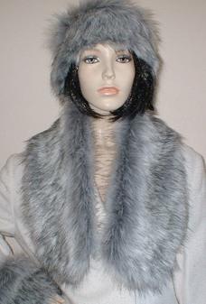 Silver Musquash Faux Fur Neck Scarf