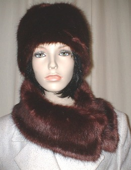 Burgundy Mink Faux Fur Long Collar