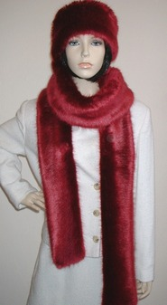 Ruby Red Faux Fur Super Long Scarf