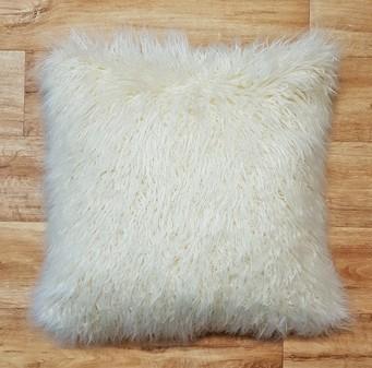 Mongolian Ivory Faux Fur Cushions