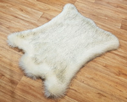 Tissavel Tundra Arctic Fox Faux Fur Animal Shape Rug