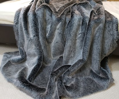 SALE Arctic Wolf Faux Fur Throw with Graphite Velboa