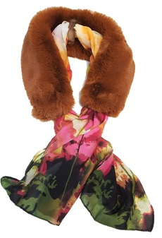 Autumn Leaves Faux Fur and Silk Scarf Collar