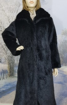 SALE Black Mink Faux Fur Long Coat size 8