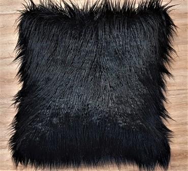 Mongolian Black Faux Fur Cushion