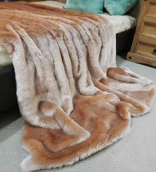SALE Tissavel Blush Faux Fur Throw with Latte Velboa