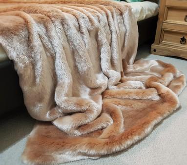 SALE Long Tissavel Blush Faux Fur with Cream Velboa Throw