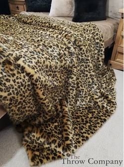 Gold Leopard Faux Fur Throw