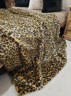 SALE Gold Leopard Faux Fur Throw with Tan Faux Suede