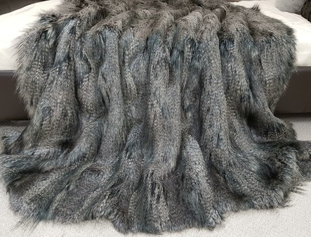 SALE Medium Grey Wolf Faux Fur Throw with Graphite Velboa