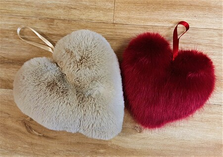 Faux Fur Hanging Hearts