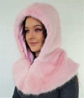 Raspberry Cream Faux Fur Zipped Hood