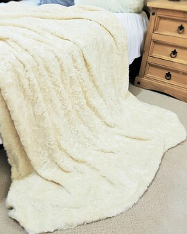 SALE Ivory Astra Faux Fur Throw with Cream Velboa