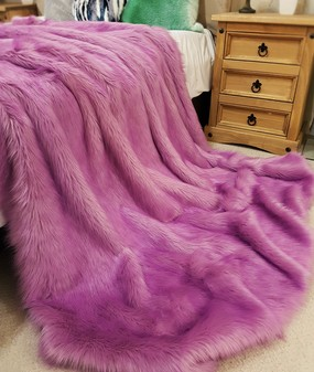 Lilac Mist Faux Fur Throws