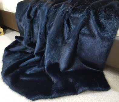 SALE Long Midnight Navy Faux Fur Throw with Navy Velvet Backing 2.5m long x 1.5m wide