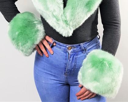 Tissavel Mint Faux Fur Cuffs