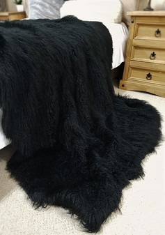 Mongolian Black Faux Fur Throw