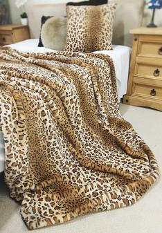 SALE New Jaguar Faux Fur Throw with Latte Velboa