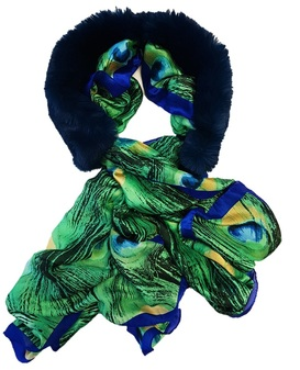 Petrol Blue Faux Fur and Silk Scarf Collar