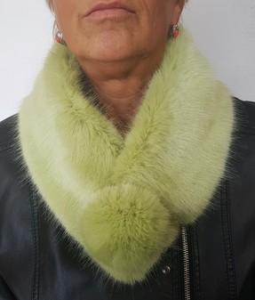 Pistachio Faux Fur Pom Pom Collar