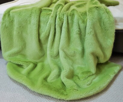 SALE Pistachio Faux Fur Throws with Cream Velboa
