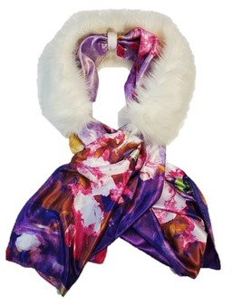 Polar Bear Faux Fur and Silk Scarf Collar