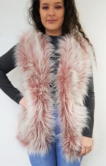 Tissavel Pretty in Pink Faux Fur Upside Down Gilet