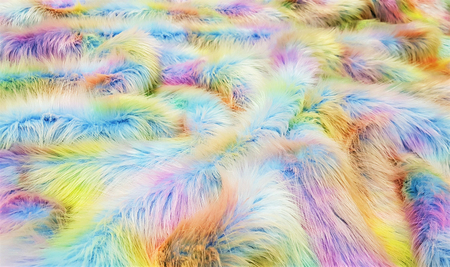 Rainbow Faux Fur Fabric Per Meter