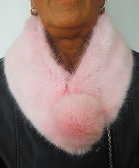 Raspberry Cream Faux Fur Pom Pom Collar
