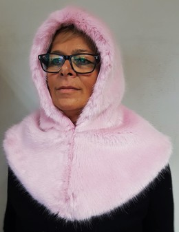 Raspberry Cream Faux Fur Zipped Hood