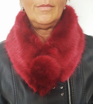 Ruby Red Faux Fur Pom Pom Collar