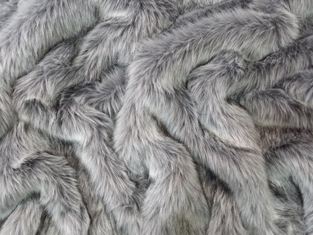 SALE Silver Musquash Faux Fur Throw with Graphite Velboa