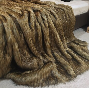 SALE Simba Faux Fur Throw with Chocolate Faux Suede